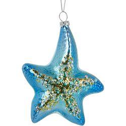 Brighten the Season Starfish Glitter Glass Ornament