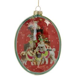 Dog Oval Glass Ornament