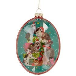 Brighten the Season Cat Oval Glass Ornament