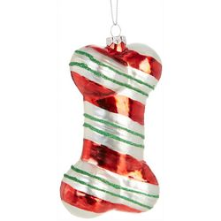 Brighten the Season Dog Bone Glitter Stripe Ornament