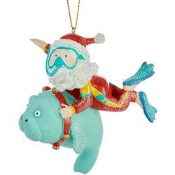 Santa & Manatee Swim Ornament