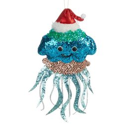 Brighten the Season Glitter Jellyfish & Santa Hat Ornament