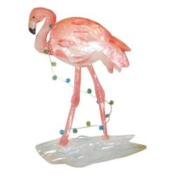 Capiz Flamingo & Light Ornament