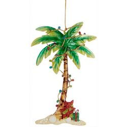 Palm Tree & String Lights Metal Ornament