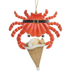 Crab & Burlap Santa Hat Ornament