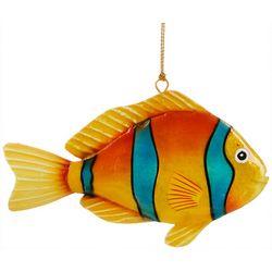Brighten the Season Capiz Stripe Fish Metal Ornament