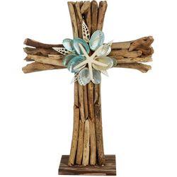 Driftwood Cross & Shell Tabletop Decor