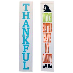 Thankful & Candy Reversible Porch Sign Decor
