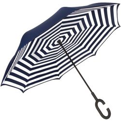 ShedRain UnbelievaBrella Navy Stripe Reverse Umbrella