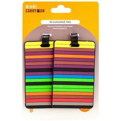 Miami Carry On 2-pc.Colorful Stripe Luggage Tag Set