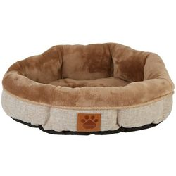 Rustic Shearling Round Dog Bed