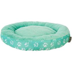 Paw Print Round Dog Bed