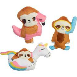 3-pc. Sloth Pool Float Mini Plush Dog Toy