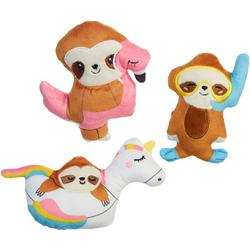 3-pc. Sloth Pool Float Mini Plush Dog Toy Set