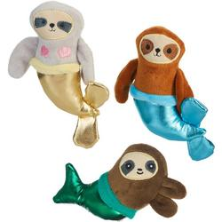 3-pc. Mermaid Sloths Mini Plush Dog Toy Set