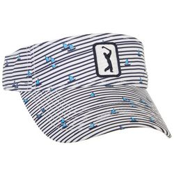 Womens Boat Stripe Embroidered Logo Visor