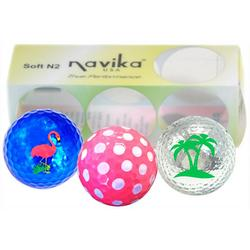 USA 3-Pk. Assorted Print Golf Balls