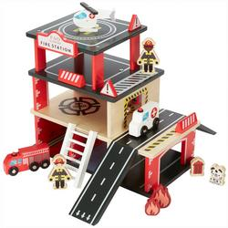 Wood Fire Station Play Set