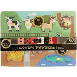 2-pk. Animal Park & Vehicles Sound Puzzels