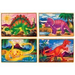 Melissa & Doug 4-pk. Wooden Dinosaur Puzzle Box Set