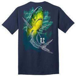 Reel Legends Mens Skeletal Mahi Graphic T-Shirt