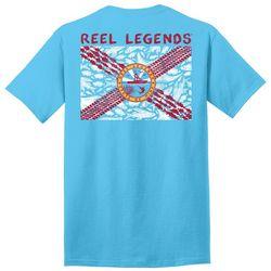 Reel Legends Mens Fish Flag Graphic T-Shirt