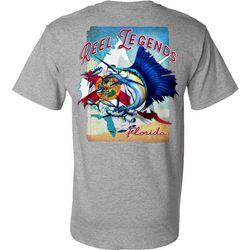 Reel Legends Mens Sailfish Florida Flag Short Sleeve T-Shirt