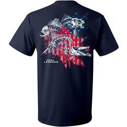 Reel Legends Mens Skeletal Flag Short Sleeve T-Shirt
