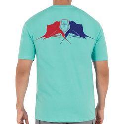 Guy Harvey Mens Red White Blue Sailfish Short Sleeve T-Shirt
