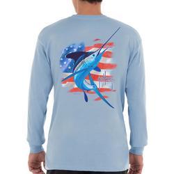 Mens Water Stripes Long Sleeve T-Shirt