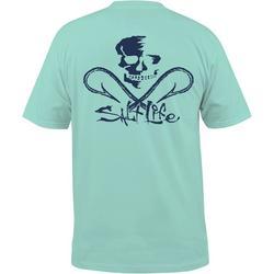 Mens Blue Skull & Hooks Pocket T-Shirt