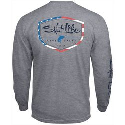 Salt Life Mens Americana Shield Heather Long Sleeve T-Shirt