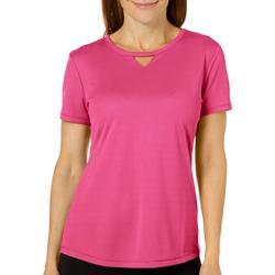 Petite Freeline Solid Keyhole T-Shirt