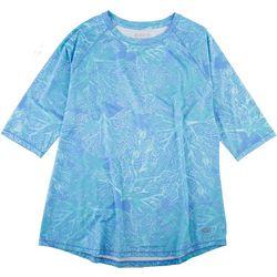Reel Legends Petite Keep It Cool Coral Puzzle 3/4 Sleeve Top