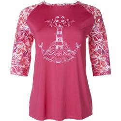 Petite 3/4Sleeve Anchor Top With Pattern Sleeve