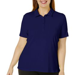 Lillie Green Plus Solid Short Sleeve Polo Shirt