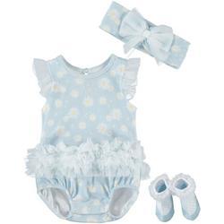 Baby Girls 3-pc. Daisy Bodysuit Set