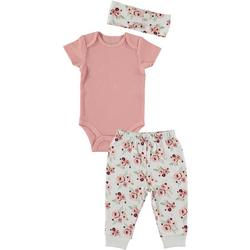 Baby Girls 3-pc. Floral Print Bodysuit Set