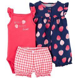 Carters Baby Girls 3-pc. Strawberry Romper Set