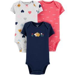 Baby Girls 3-pc. Hedgehog Bodysuit Set