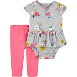 Carters Baby Girls 2-pc. Floral Peplum Bodysuit Pant Set