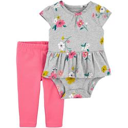 Baby Girls 2-pc. Floral Peplum Bodysuit Pant Set