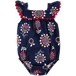 Carters Baby Girls Floral Americana Bodysuit