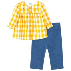 Little Me Baby Girls 2-pc. Gingham Floral Tunic Pant Set