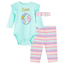 Little Me Baby Girls 3-pc. Love The Planet Pant Set
