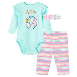 Baby Girls 3-pc. Love The Planet Pant Set
