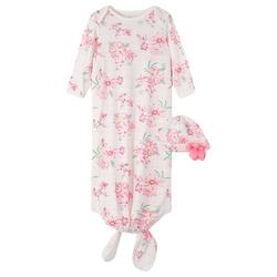 Baby Girls 2-pc. Hibiscus Sleep Gown Set