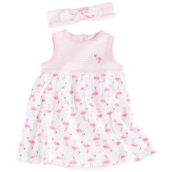 Baby Girls Flamingo Bodysuit Dress