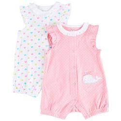 Little Me Baby Girls 2-pk. Whale & Heart Romper Set