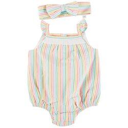 Little Me Baby Girls Stripe Ruffle Romper